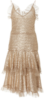 Rodarte Metallic Ruffled Lace Dress