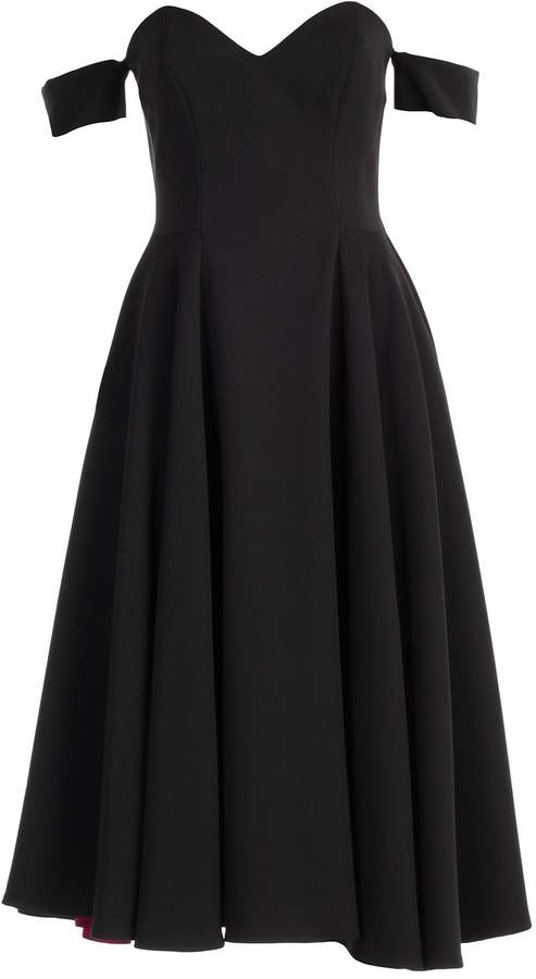 Sara Battaglia Off-shoulder Midi Dress