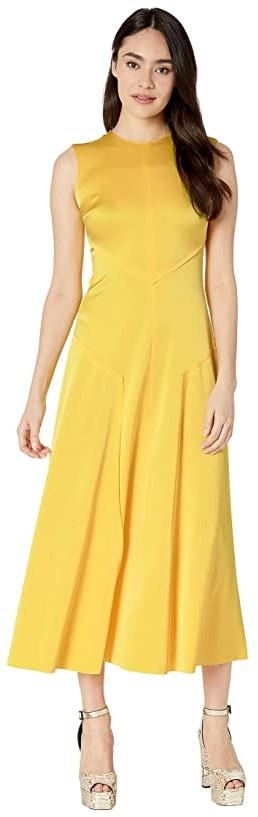 Jason Wu Sleeveless Crew Neck Dress (Lemonade) Women's Clothing