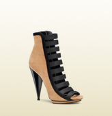 Gucci Olimpia Suede Open-Toe Bootie