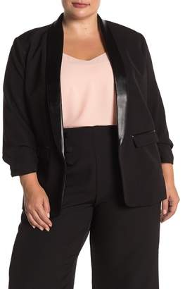 Laundry by Shelli Segal 3/4 Ruched Sleeve Faux Leather Trim Blazer (Plus Size)
