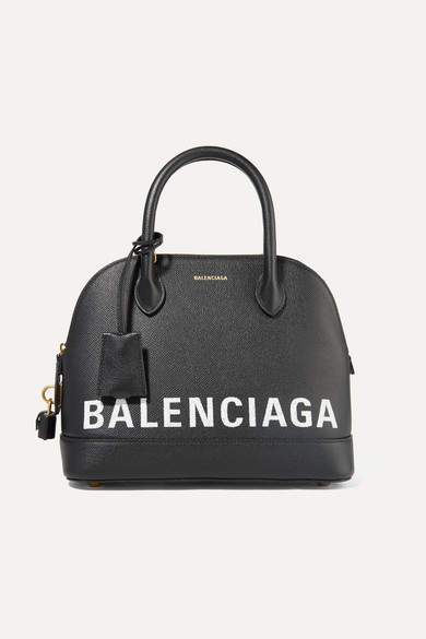 Ville Printed Textured Leather Tote   Black by Balenciaga