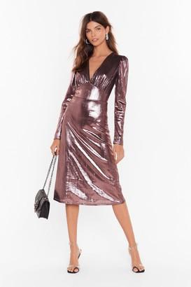 Nasty Gal Womens Should of Sheen Me Metallic Midi Dress - Black - 4