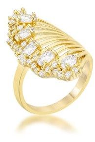 Icon Natalie 14k Yellow Gold Overlay 2.15ct CZ Contemporary Cocktail Ring