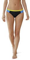 Lands' End Women's AquaSport Low Waist Bikini Bottom-Black Falling Leaves