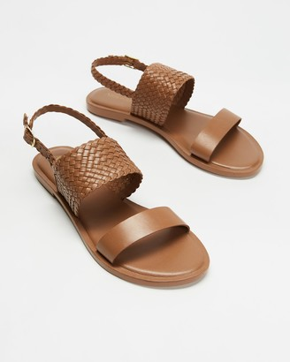 Atmos & Here Atmos&Here - Women's Brown Flat Sandals - Karri Woven Leather Sandals - Size 37 at The Iconic