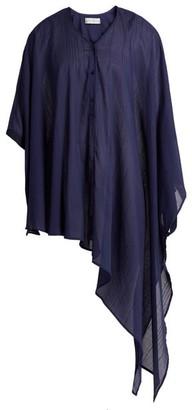 Palmer Harding Palmer//Harding Palmer//harding - Ribbon-trim Asymmetric-hem Shirt - Womens - Navy