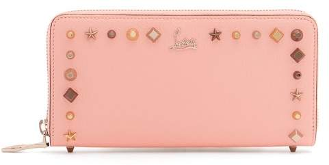 Christian Louboutin Panetton Embellished Zip Around Leather Wallet - Womens - Pink Multi