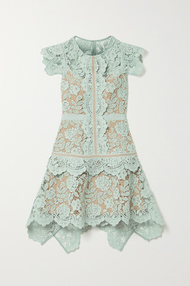 Self-Portrait Asymmetric Grosgrain-trimmed Corded Lace Mini Dress