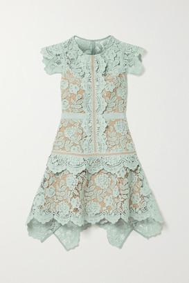 Self-Portrait Asymmetric Grosgrain-trimmed Corded Lace Mini Dress - Mint