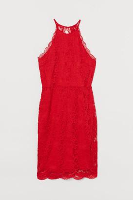 H&M Lace halterneck dress