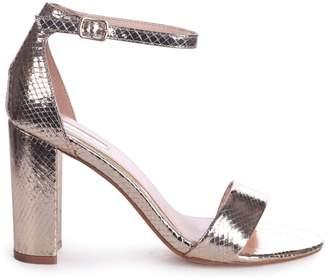 Linzi Nelly Gold Lizard Single Sole Block Heels