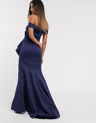 Goddiva bardot bow detail maxi dress in navy satin