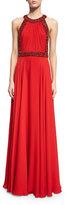 Jenny Packham Halter-Neck Embellished-Trim Gown, Russian Red