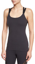Beyond Yoga Polka-Dot Mesh-Back Sport Camisole, Black