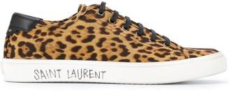 Saint Laurent Leopard-Print Lace-Up Sneakers