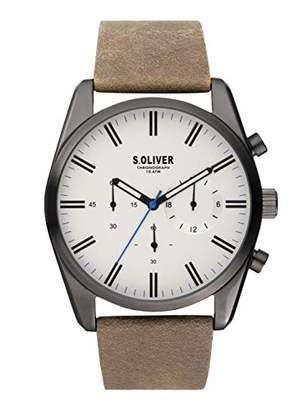 S'Oliver Mens Chronograph Quartz Watch with Leather Strap SO-3867-LC