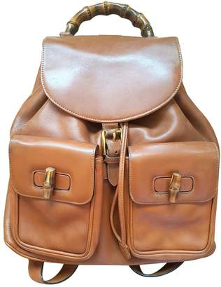 Gucci Bamboo Camel Leather Backpacks