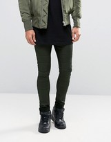 Asos Extreme Super Skinny Jeans With Biker Panels In Khaki