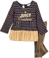 Juicy Couture Lurex Knit Ruffle Mesh Bottom Tunic & Gold Piping Leggings Set (Baby Girls)
