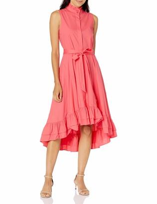 Calvin Klein Women's High Low Sleeveless Shirt Dress with Ruffle Detail