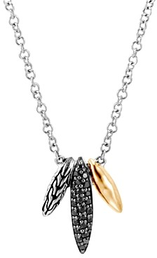John Hardy Sterling Silver & 18K Yellow Gold Classic Chain Black Sapphire & Black Spinel Spear Pendant Necklace, 18