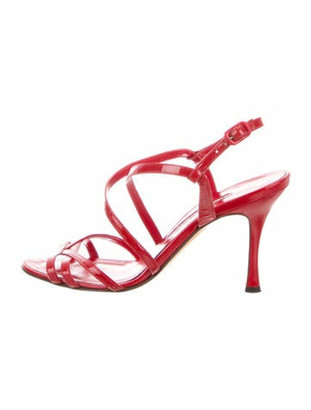 Manolo Blahnik Patent Leather Crossover Sandals Red