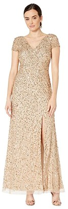 Adrianna Papell Short Sleeve Crunchy Bead Gown with Side Slit (Champagne/Gold) Women's Dress