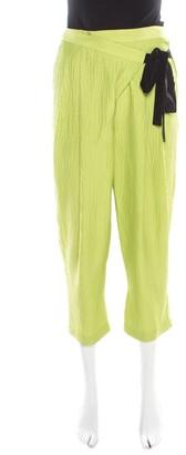 Matthew Williamson Lime Green Silk Seersucker Faux Wrap Trousers S