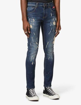 Inside Out Denim Paint Splash V.1 ripped slim-fit jeans