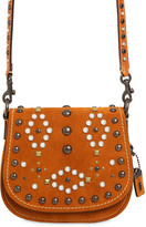 Coach Saddle Studded Suede Shoulder Bag