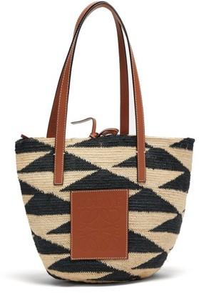 BEIGE Loewe Paula's Ibiza - Shigra Sisal And Leather Tote Bag - Womens Multi
