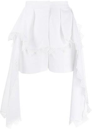 Alexander McQueen Peplum Lace-Detail Shorts