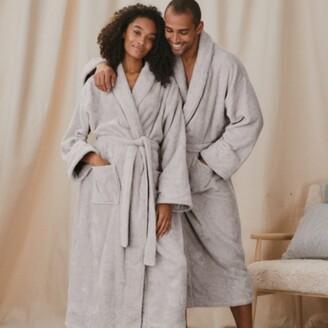 The White Company Unisex Cotton Classic Robe Extra Small Grey