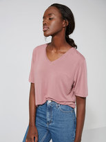 Frank + Oak Fluid V-Neck Tee in Washed Rose Taupe