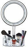 daisi Magnifying Lighted Makeup Mirror | 7X Magnification, LED Portable Illuminated Bathroom Mirror | Vanity Make-Up Mirror with Swivel Stand, Vanity Tray & Cosmetic Holder Base | Round