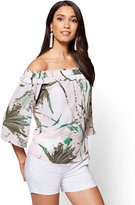 New York & Co. 7th Avenue - Off-The-Shoulder Blouse - Pink - Tropical Print