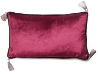 Bivain Dark Purple Velvet Rectangular Cushion With Tassels
