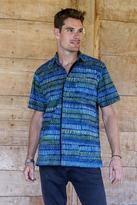 Men's Blue Cotton Button Down Shirt with Hand Stamped Batik, 'Oceanic Voyager'