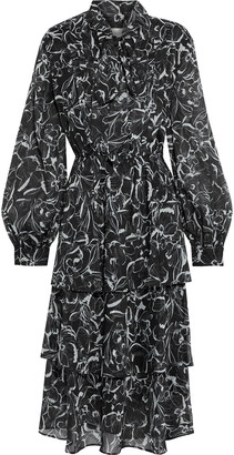 Sachin + Babi Chrissy Tiered Tie-neck Floral-print Metallic Chiffon Midi Dress
