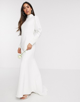 Y.A.S Wedding highneck fishtail dress with embellished cuffs in white