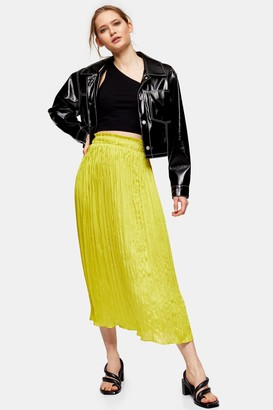 Topshop Womens Crushed Satin Pleated Skirt - Chartreuse