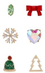 Betsey Johnson Festive Single Stud Earrings Set