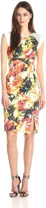 Black Halo Women's Sleeveless Floral Print Sheath Dress