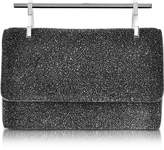 M2Malletier Mini Fabricca Cosmic Black Glitter Leather Clutch w/Chain