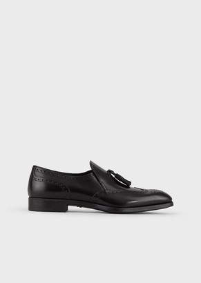 Giorgio Armani Brushed Leather Moccasins With Nappa Leather And Perforations
