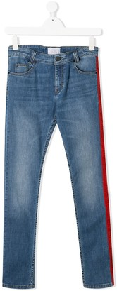 Givenchy Kids TEEN logo lined skinny jeans