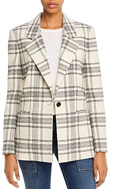 Rebecca Taylor Tailored Plaid Tweed Blazer