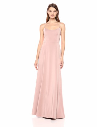 Jenny Yoo Women's Aniston Thin Strap Fit and Flare Long Crepe Gown