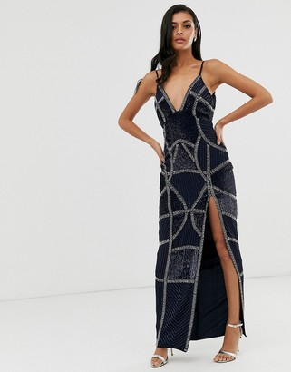 Asos Design DESIGN sexy pencil maxi dress with embellished panels